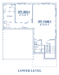 Lower level of single-family home floor plan