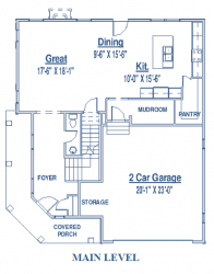 main level of single-family floor plan
